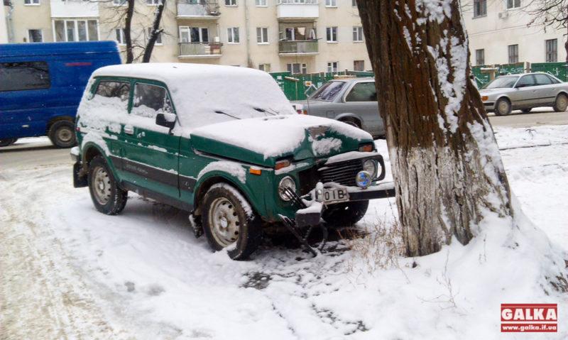 У Франківську авто не розминулося з деревом (ФОТО)
