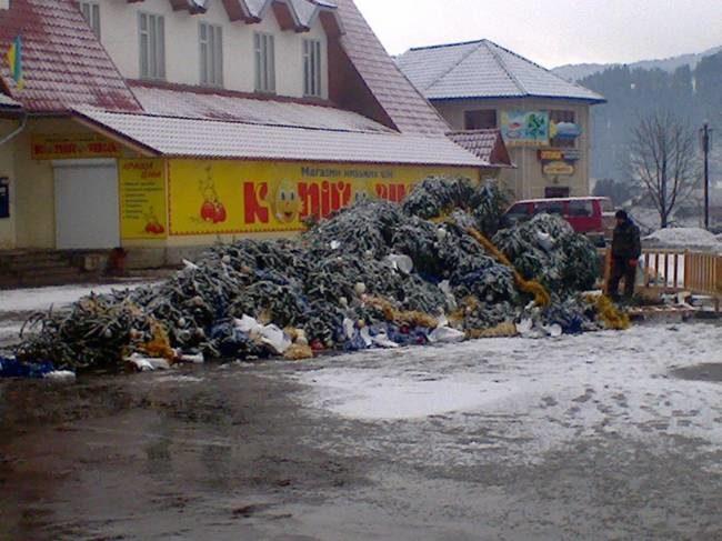На Прикарпатті у райцентрі впала головна новорічна ялинка