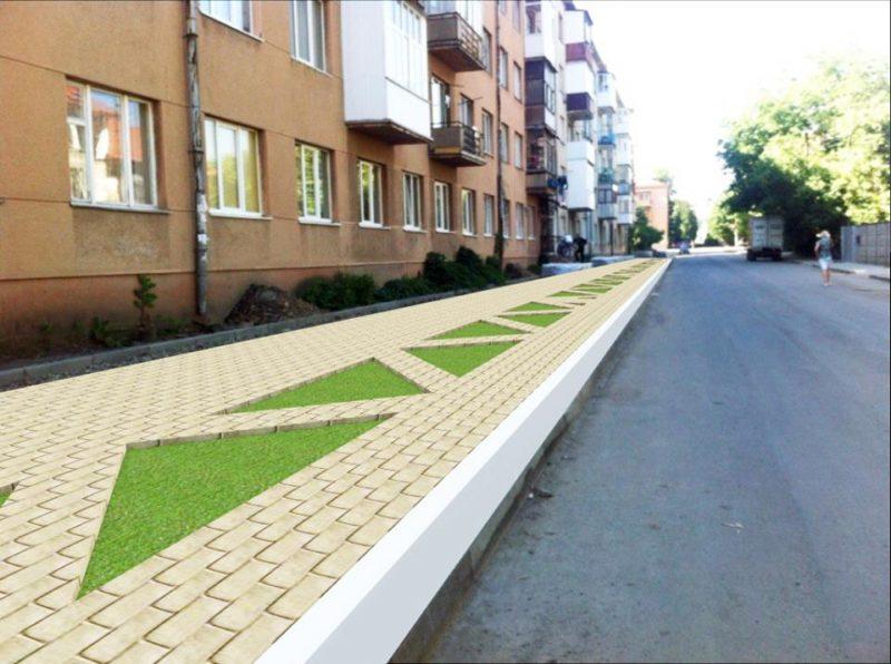 На Манюха замість стихійної парковки буде тротуар та зелені газони (ФОТО)