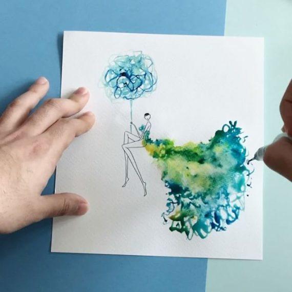 Ілюстратор створює унікальні моделі суконь з акварелі (ФОТО)